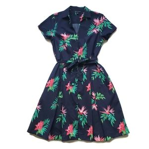 Brooks Brothers Midi Shirt Dress, Floral Navy 6